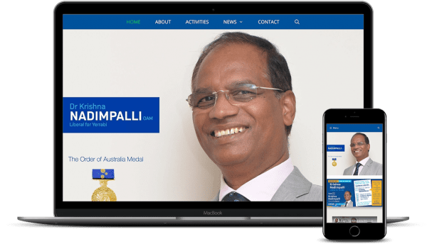 Dr-Krishna-Nadimpalli-Social Media Powered Website for a Political Candidate in Canberra