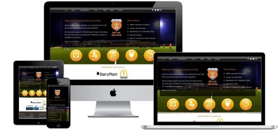 Ringwoodcity Soccer Responsive Design Works across multiple devices such as mobiles, tablets, laptops and desktops,