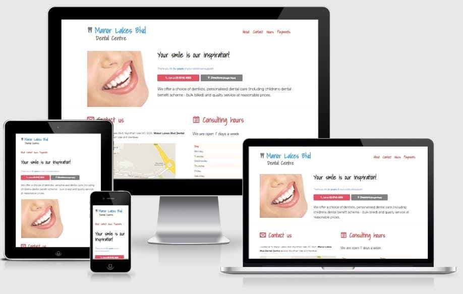 Manor Lakes Dental Single Page  Website Screenshot