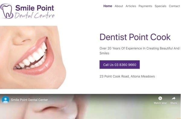 SmilePoint - Example of an Dental Clinic site built with WordPress. Optimised for Local SEO, includes YouTube and Google Search Optimisation.