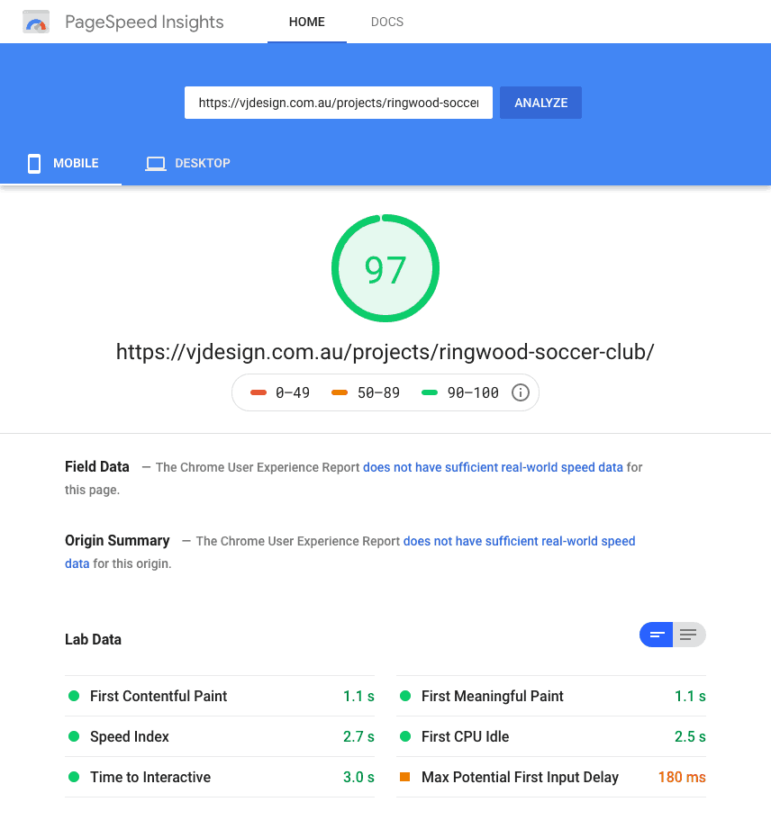 Google Page Speed Test 97 score on Mobile