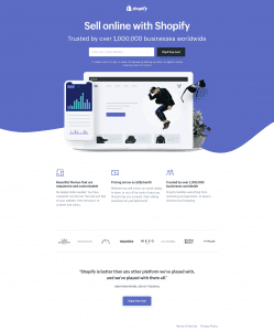 Screenshot 2020 01 18 Create your online store today with Shopify - Landing Page Web Design