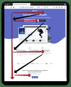 z pattern reading - Landing Page Web Design