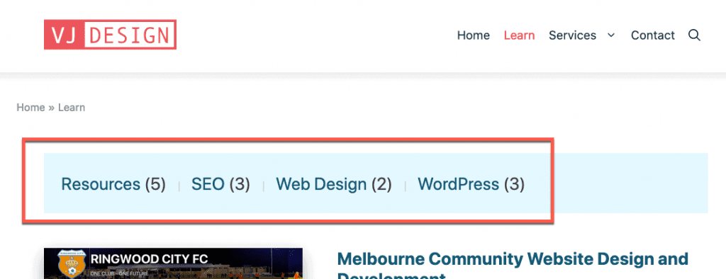 Illustrating the category links that I want to display on my blog page.