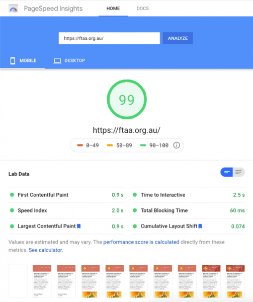 Google Page Speed Test showing the FTAA site loads in under a second on mobiles and gets 99/100 score in Google Lighthouse.