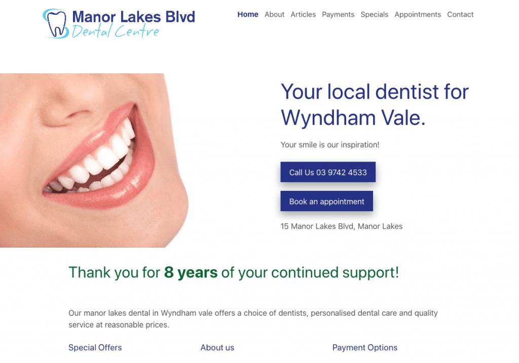 Manor Lakes Boulevard Dental Centre Website Screenshot