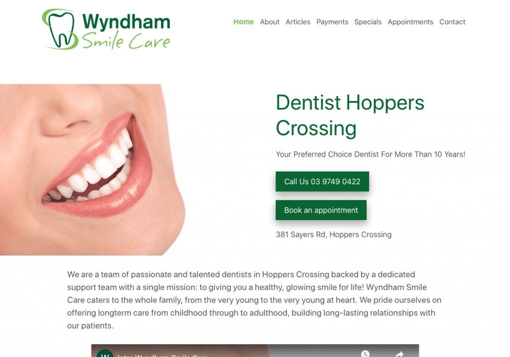 Wyndham Smilecare Website Screenshot