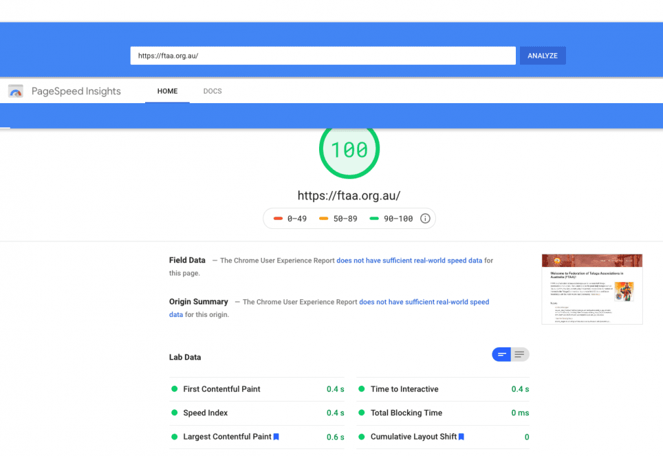 FTAA scored 100 on Google Page Speed Insights (99 for mobile) and is fully interactive in under half a second.