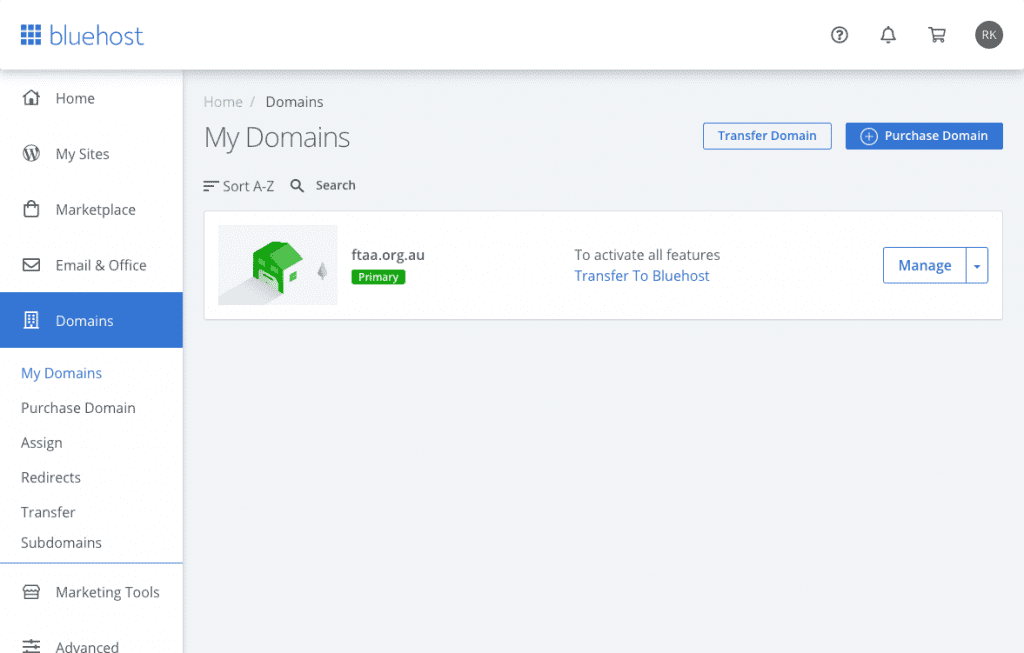 Domains Page to Manage all your sites easily.