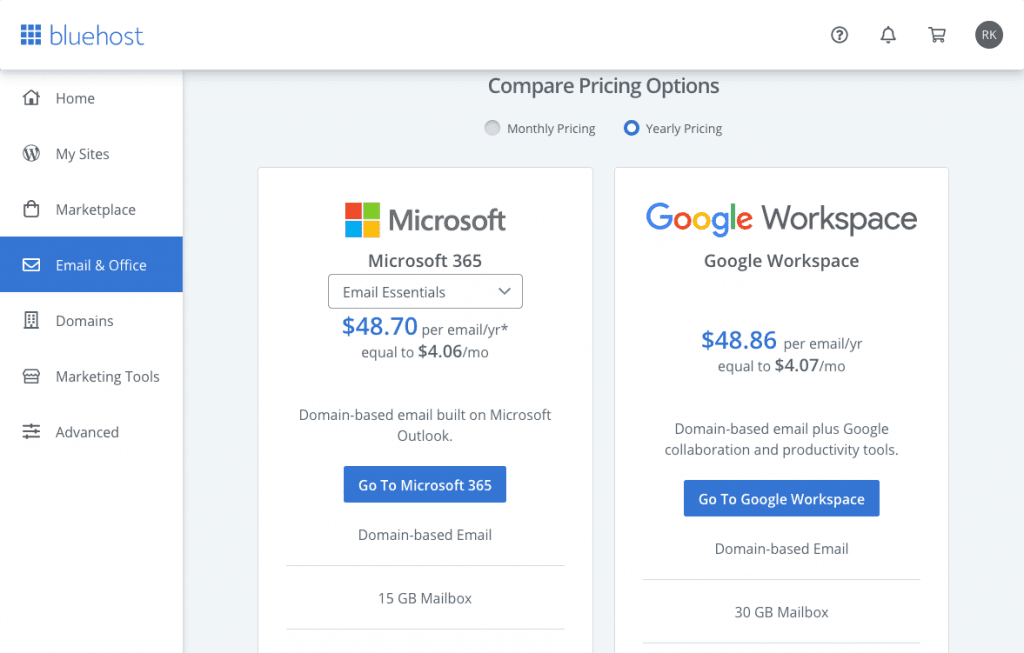 Bluehost offers email and office integrations with Microsoft 365 or Google Workspace.