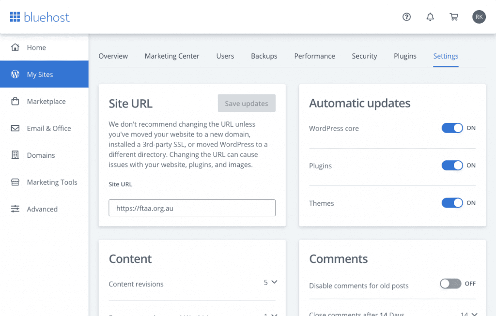 Bluehost settings tab - One-click to enable auto updates for WordPress core, plugins and themes. You can also manage comments and revisions.