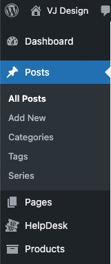 WordPress Admin Menu showing different typres of content to which canonical URL can be added: posts, pages, products, custom post types (e.g. HelpDesk Tickets), categories, tags, custome taxonomies (e.g. Series)
