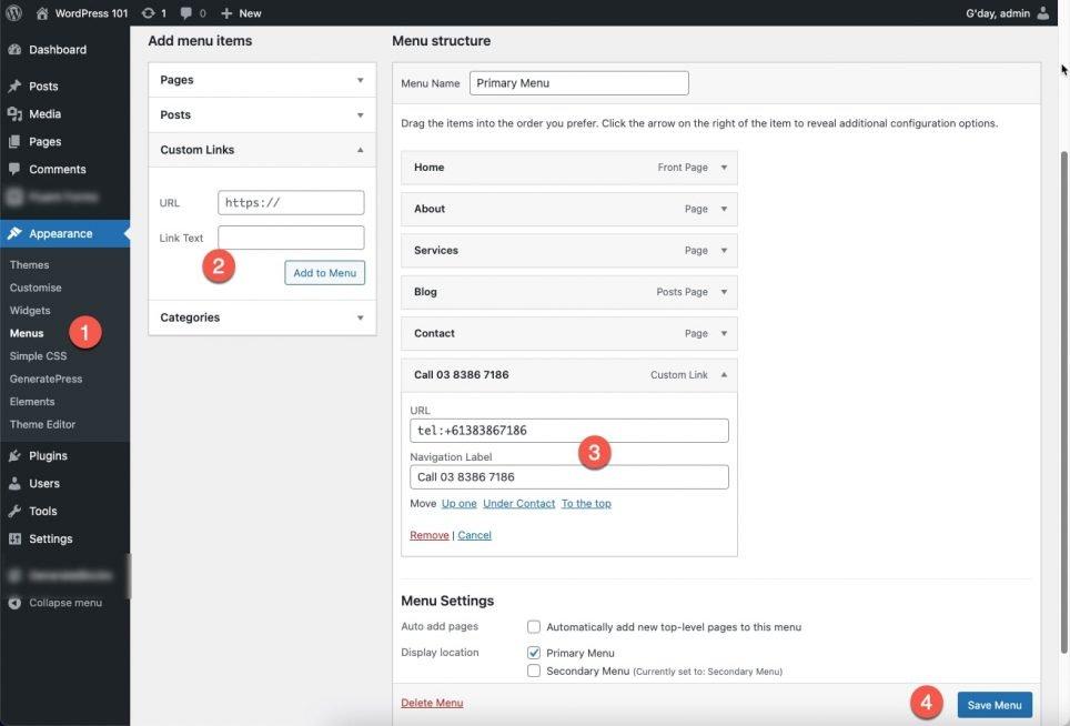 wordpress-menu-steps showing how to add a add-custom-link