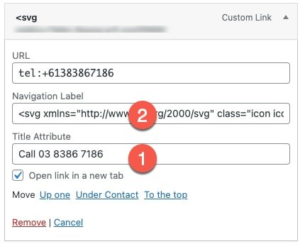 wordpress-menu-item-add-icon-to-label-field and copy paste the original lable text to the title attribute