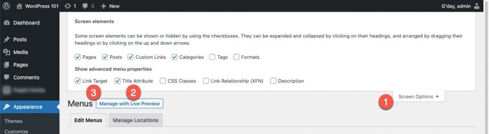 wordpress-click on Screen Options and enable Show-advanced-menu-properties