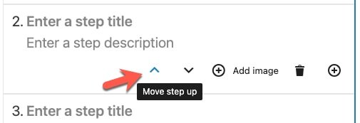 Use the Move step up/down buttons to change the order of the steps.
