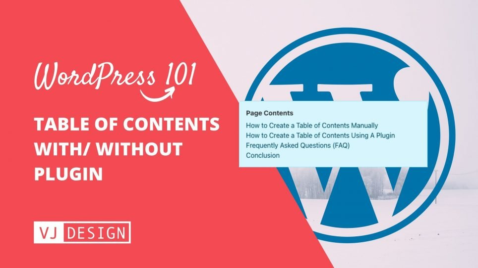 How to create a Table Of Contents (TOC) in WordPress with or without plugin