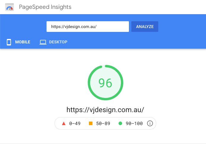 google-page-speed-insights-for-vjdesign-96%-score