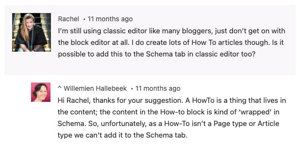 A query from a user about How-to block in Classic Editor answered by Yoast Staff - https://yoast.com/howto-structured-data/#comment-18460533