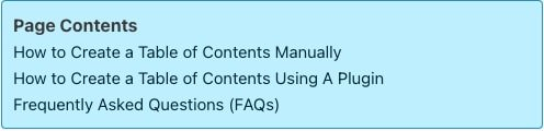 Example Table of Contents added using Easy Table of Contents plugin.
