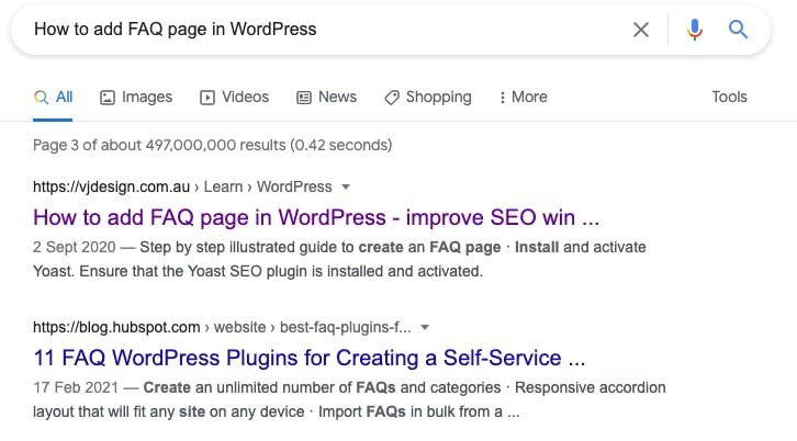 Typical Snippet in Google SERP